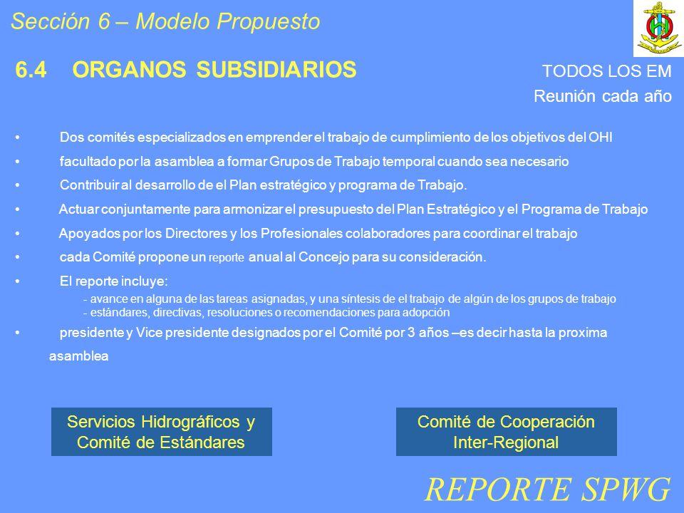 Sección 6 – Modelo Propuesto 6.4 ORGANOS SUBSIDIARIOS Dos comités especializados en emprender el trabajo de cumplimiento de los objetivos del OHI facultado por la asamblea a formar Grupos de Trabajo temporal cuando sea necesario Contribuir al desarrollo de el Plan estratégico y programa de Trabajo.