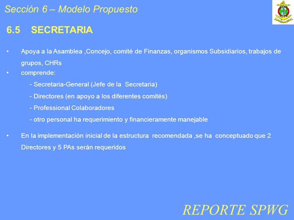 Sección 6 – Modelo Propuesto 6.5 SECRETARIA Apoya a la Asamblea,Concejo, comité de Finanzas, organismos Subsidiarios, trabajos de grupos, CHRs compren