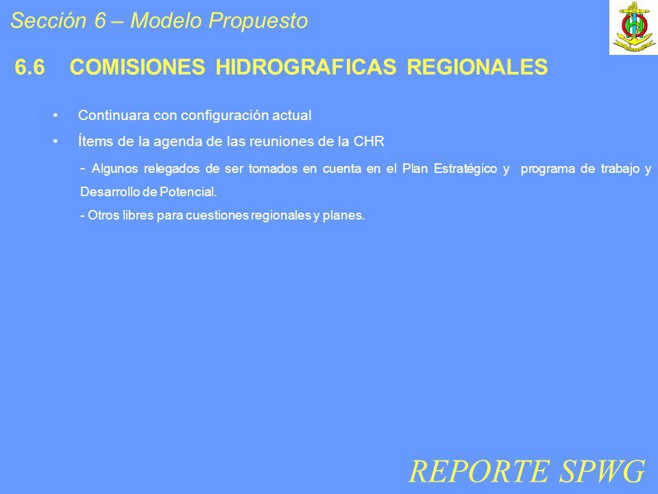 6.6 COMISIONES HIDROGRAFICAS REGIONALES Continuara con configuración actual Ítems de la agenda de las reuniones de la CHR - Algunos relegados de ser tomados en cuenta en el Plan Estratégico y programa de trabajo y Desarrollo de Potencial.