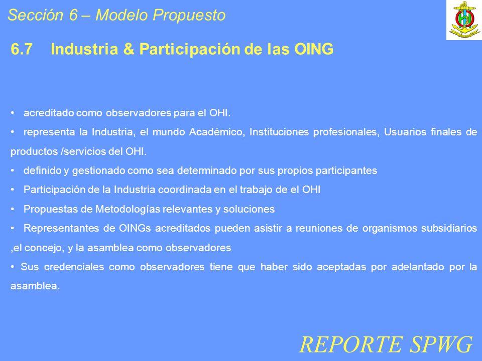Sección 6 – Modelo Propuesto 6.7 Industria & Participación de las OING acreditado como observadores para el OHI. representa la Industria, el mundo Aca