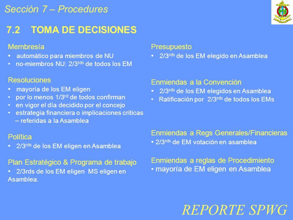 Sección 7 – Procedures 7.2 TOMA DE DECISIONES Membresía automático para miembros de NU no-miembros NU: 2/3 rds de todos los EM Resoluciones mayoría de los EM eligen por lo menos 1/3 rd de todos confirman en vigor el día decidido por el concejo estrategia financiera o implicaciones criticas – referidas a la Asamblea Política 2/3 rds de los EM eligen en Asamblea Plan Estratégico & Programa de trabajo 2/3rds de los EM eligen MS eligen en Asamblea.