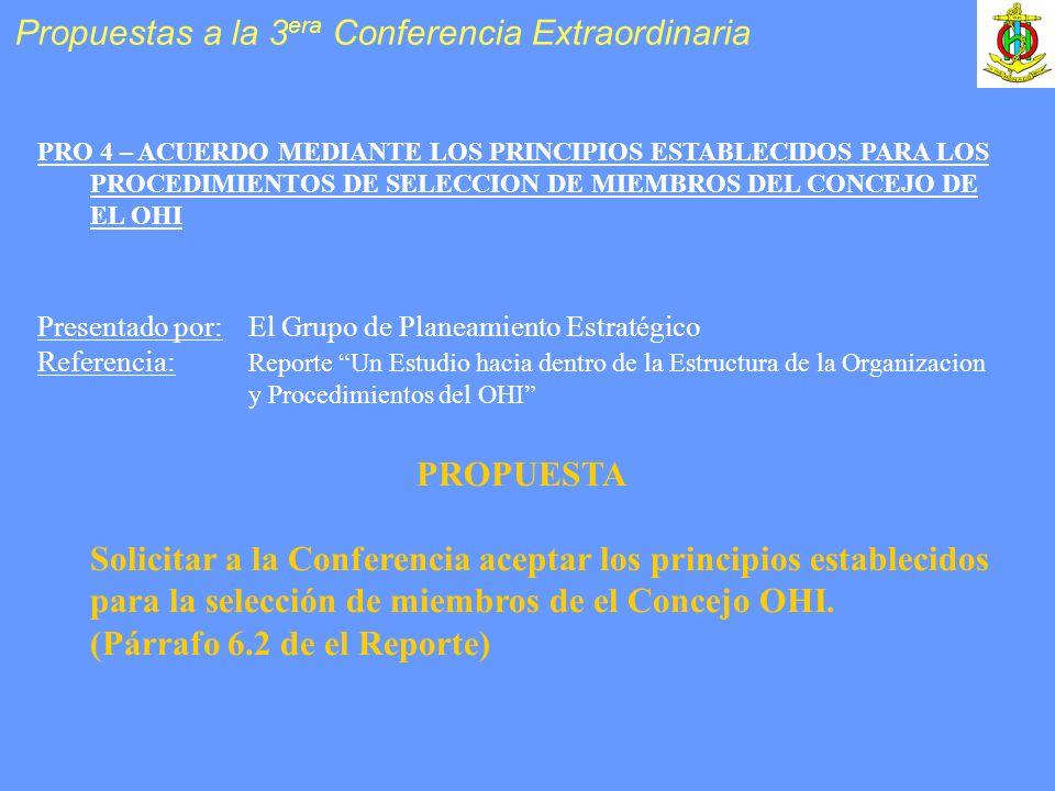 PRO 4 – ACUERDO MEDIANTE LOS PRINCIPIOS ESTABLECIDOS PARA LOS PROCEDIMIENTOS DE SELECCION DE MIEMBROS DEL CONCEJO DE EL OHI Presentado por: El Grupo de Planeamiento Estratégico Referencia: Reporte Un Estudio hacia dentro de la Estructura de la Organizacion y Procedimientos del OHI PROPUESTA Solicitar a la Conferencia aceptar los principios establecidos para la selección de miembros de el Concejo OHI.