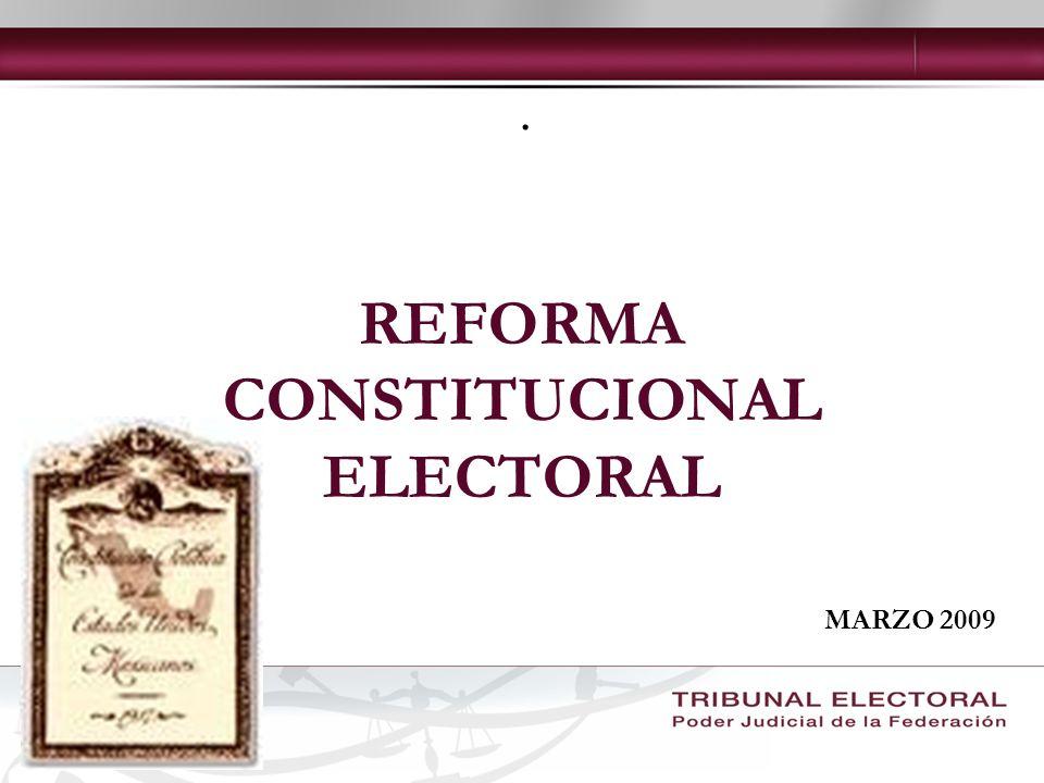 La reforma electoral aprobada por el constituyente permanente establece una variedad de tópicos, cambios, adiciones y derogaciones contenidas en 9 artículos de la constitución política de los estados unidos mexicanos.