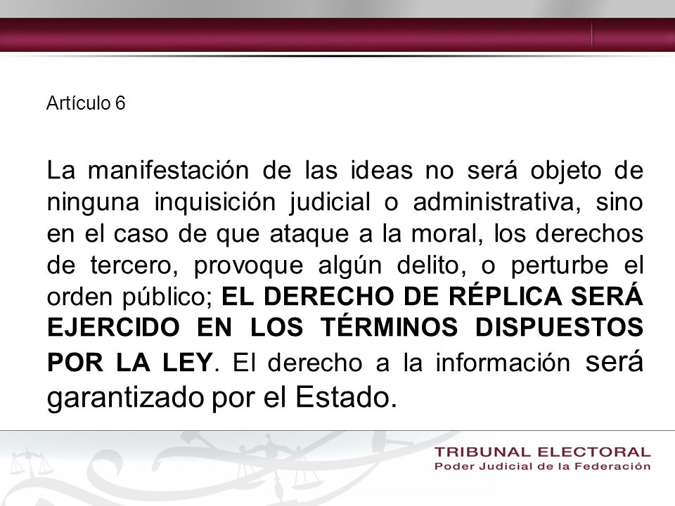 Artículo 6 Ley sobre Delitos de Imprenta 12 de abril de1917 Convención Americana sobre Derechos Humanos Ratificada por México el 24 de marzo de 1981 Entrada en vigor: 18 de julio de 1978 Reglamento de la Ley Federal de Radio y Televisión, en materia de Concesiones, Permisos y Contenido de las Transmisiones de Radio y Televisión 10 de octubre de 2002