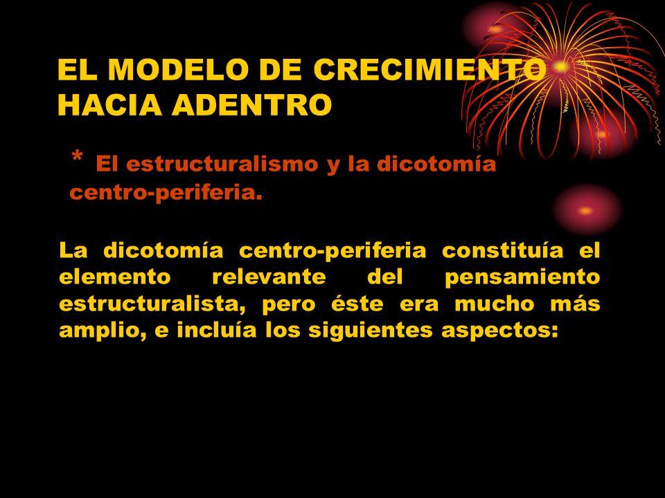 EL MODELO DE CRECIMIENTO HACIA ADENTRO * El estructuralismo y la dicotomía centro-periferia. La dicotomía centro-periferia constituía el elemento rele
