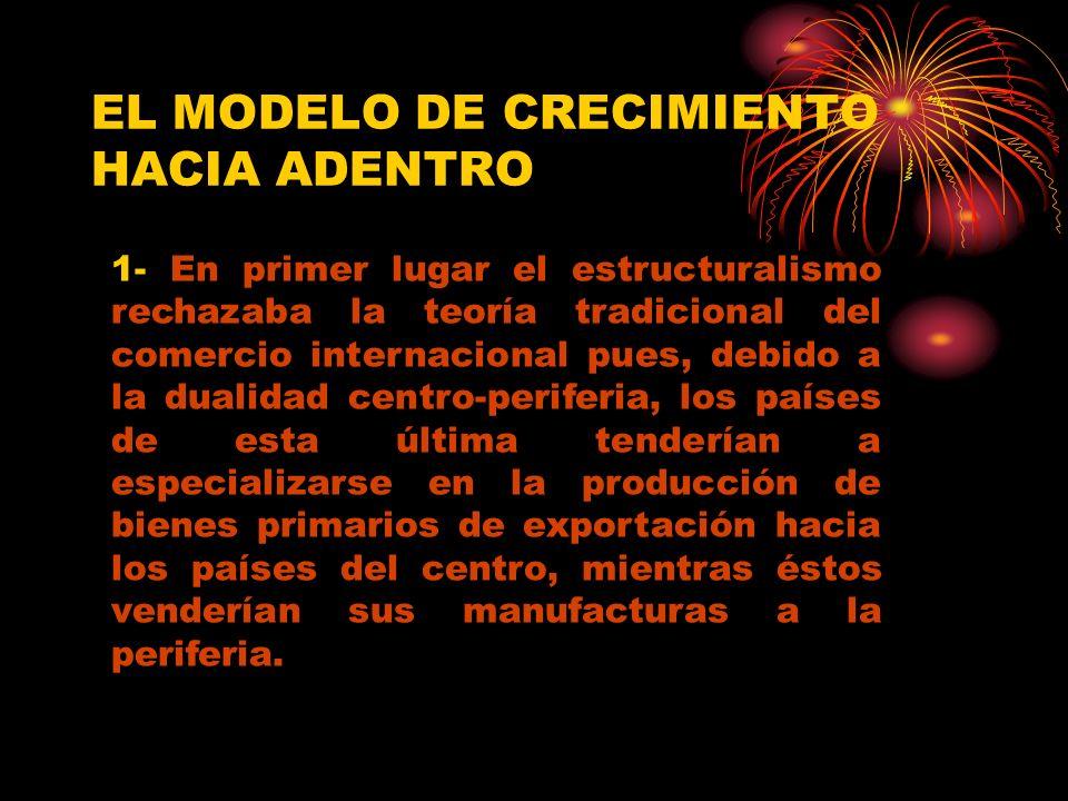 EL MODELO DE CRECIMIENTO HACIA ADENTRO 1- En primer lugar el estructuralismo rechazaba la teoría tradicional del comercio internacional pues, debido a