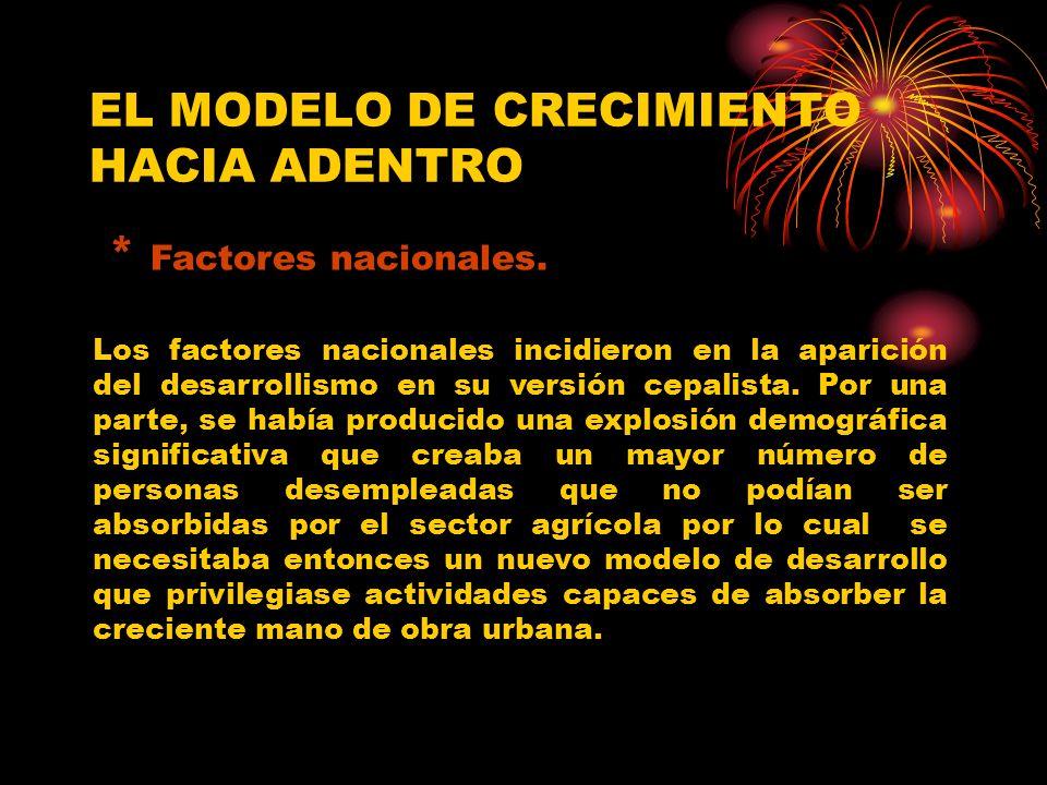 EL MODELO DE CRECIMIENTO HACIA ADENTRO * Factores nacionales.