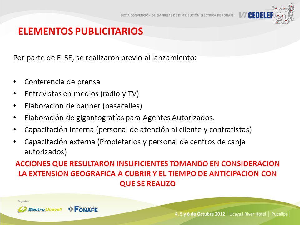 ELEMENTOS PUBLICITARIOS Por parte de ELSE, se realizaron previo al lanzamiento: Conferencia de prensa Entrevistas en medios (radio y TV) Elaboración de banner (pasacalles) Elaboración de gigantografías para Agentes Autorizados.