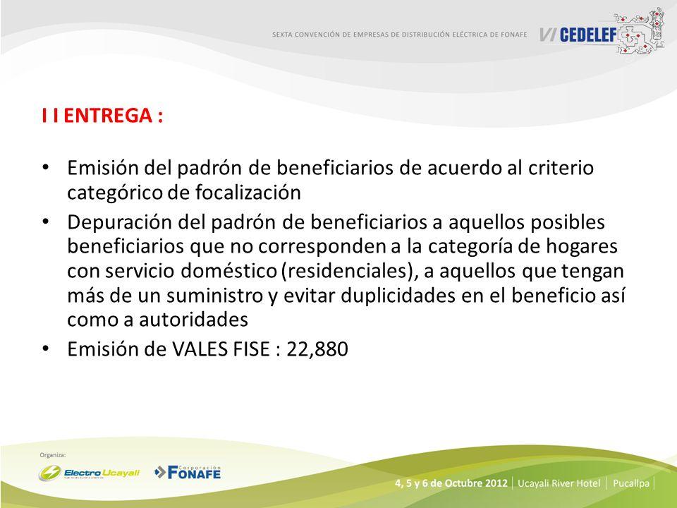 I I ENTREGA : Emisión del padrón de beneficiarios de acuerdo al criterio categórico de focalización Depuración del padrón de beneficiarios a aquellos