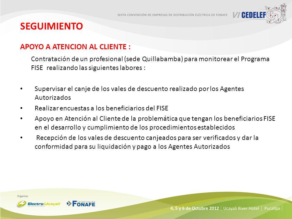 SEGUIMIENTO APOYO A ATENCION AL CLIENTE : Contratación de un profesional (sede Quillabamba) para monitorear el Programa FISE realizando las siguientes