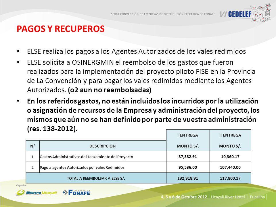 PAGOS Y RECUPEROS ELSE realiza los pagos a los Agentes Autorizados de los vales redimidos ELSE solicita a OSINERGMIN el reembolso de los gastos que fu