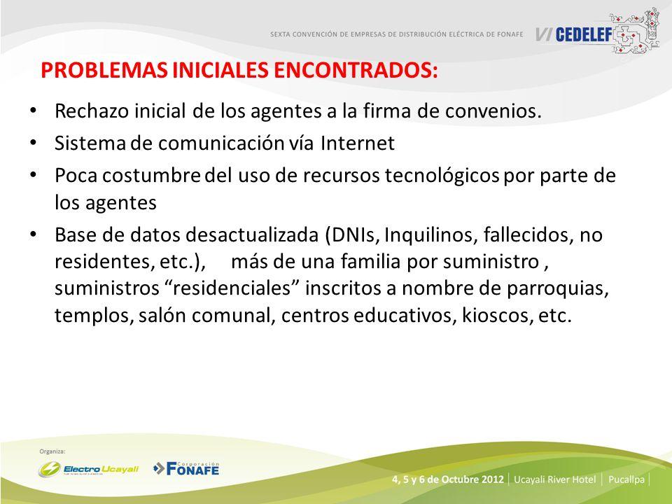 PROBLEMAS INICIALES ENCONTRADOS: Rechazo inicial de los agentes a la firma de convenios. Sistema de comunicación vía Internet Poca costumbre del uso d
