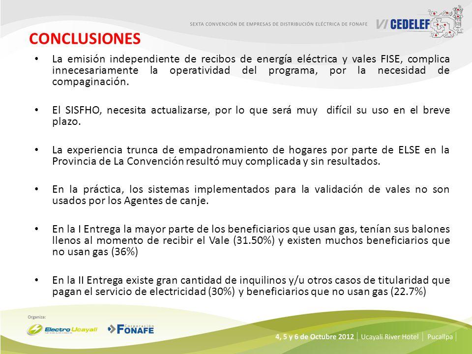 CONCLUSIONES La emisión independiente de recibos de energía eléctrica y vales FISE, complica innecesariamente la operatividad del programa, por la nec