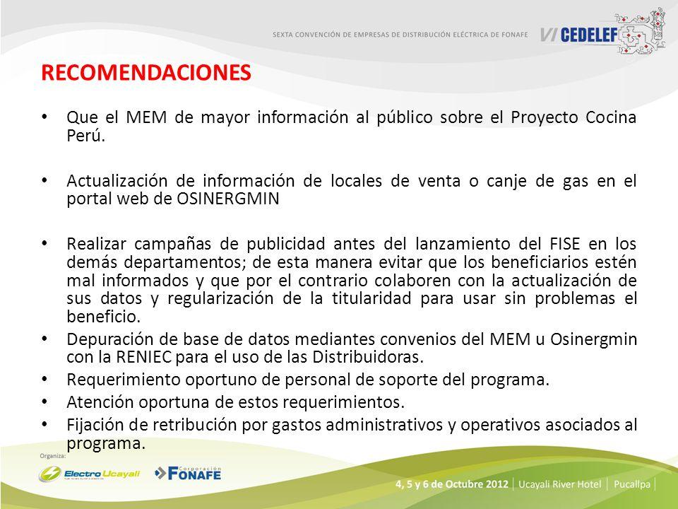RECOMENDACIONES Que el MEM de mayor información al público sobre el Proyecto Cocina Perú. Actualización de información de locales de venta o canje de
