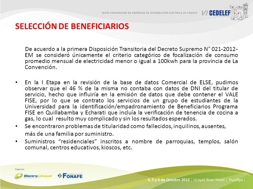 SELECCIÓN DE BENEFICIARIOS De acuerdo a la primera Disposición Transitoria del Decreto Supremo N° 021-2012- EM se consideró únicamente el criterio cat