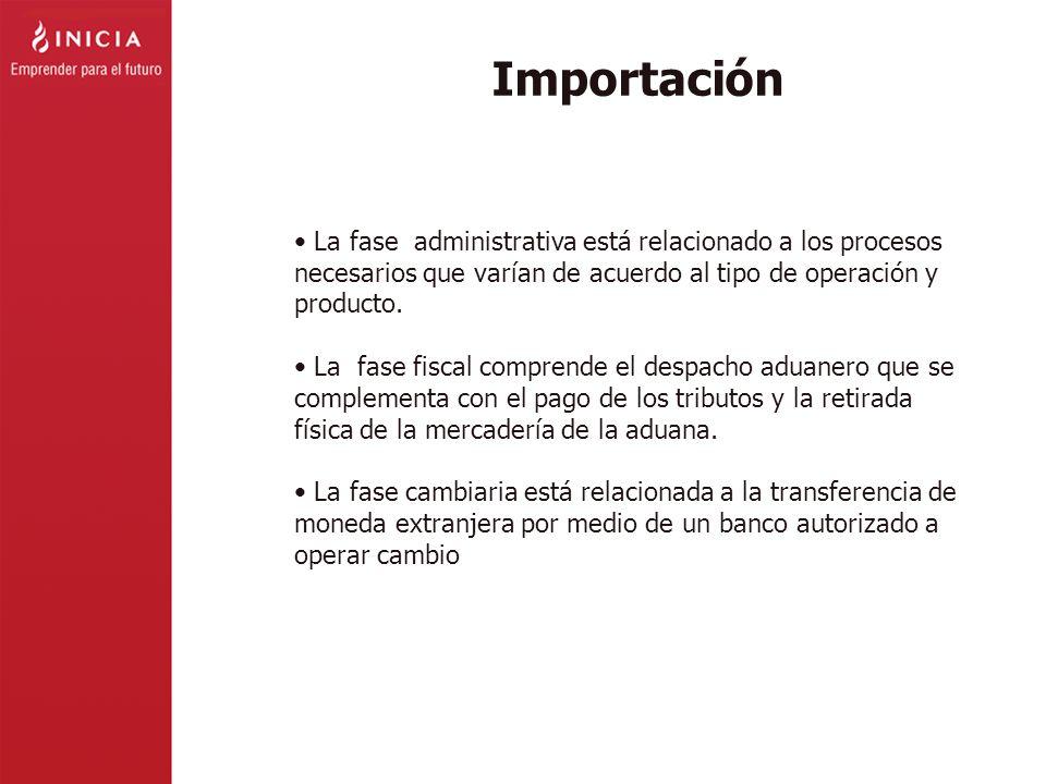 Importación La fase administrativa está relacionado a los procesos necesarios que varían de acuerdo al tipo de operación y producto. La fase fiscal co