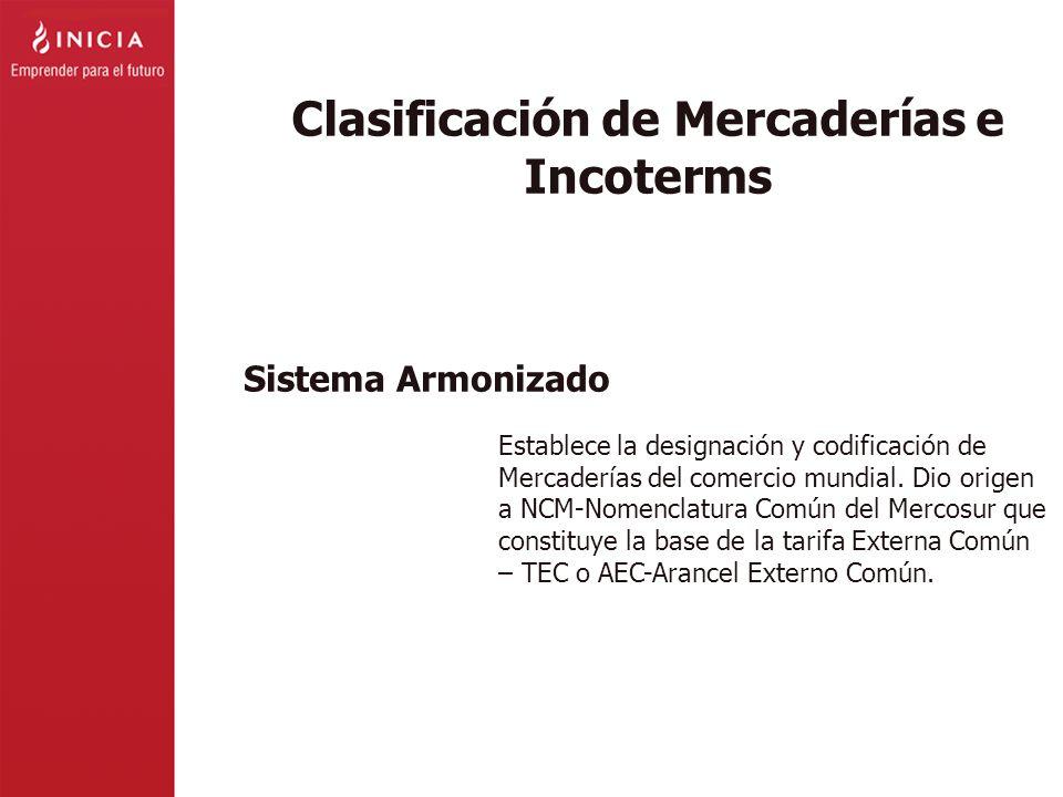 Clasificación de Mercaderías e Incoterms Establece la designación y codificación de Mercaderías del comercio mundial. Dio origen a NCM-Nomenclatura Co