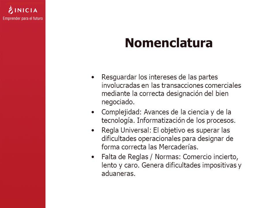 Nomenclatura Resguardar los intereses de las partes involucradas en las transacciones comerciales mediante la correcta designación del bien negociado.
