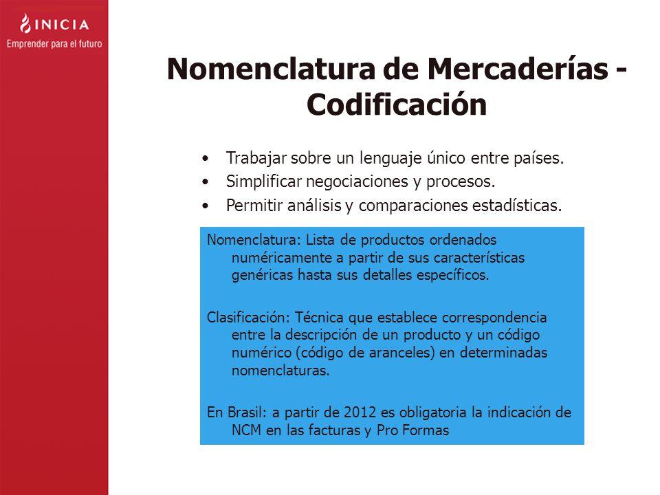 Nomenclatura de Mercaderías - Codificación Trabajar sobre un lenguaje único entre países. Simplificar negociaciones y procesos. Permitir análisis y co