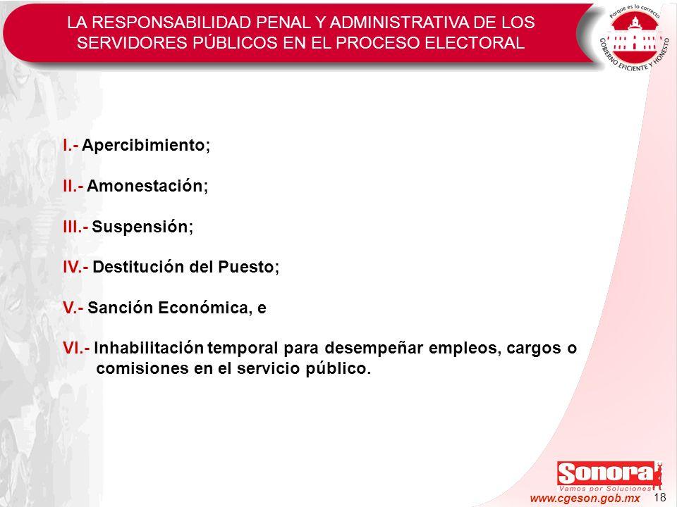 18 www.cgeson.gob.mx I.- Apercibimiento; II.- Amonestación; III.- Suspensión; IV.- Destitución del Puesto; V.- Sanción Económica, e VI.- Inhabilitació