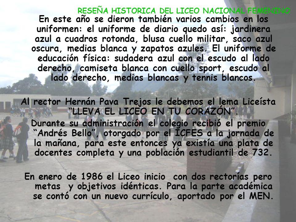 En 1978 fue encargada de la rectoría la señora Teresa Tovar y para el año de 1979 la señora Isabel Piñeros. El 14 de septiembre de 1979 se dio una dob
