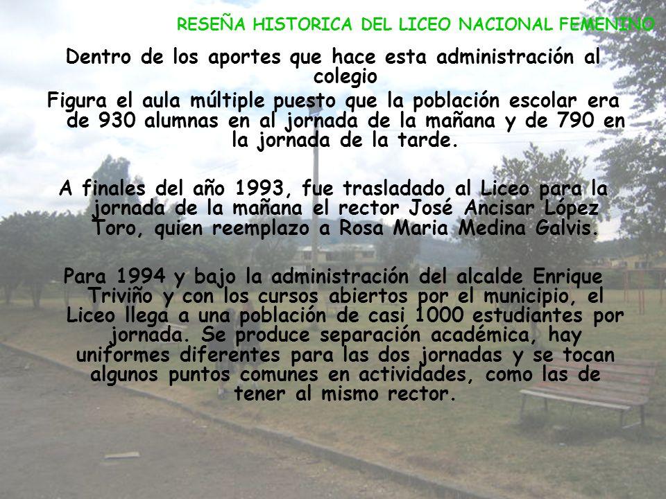La jornada de la tarde fue dirigida por Jaime Rozo Moreno y la jornada de la mañana por Edilberto Castellanos, quien se desempeño hasta el año 1988, c