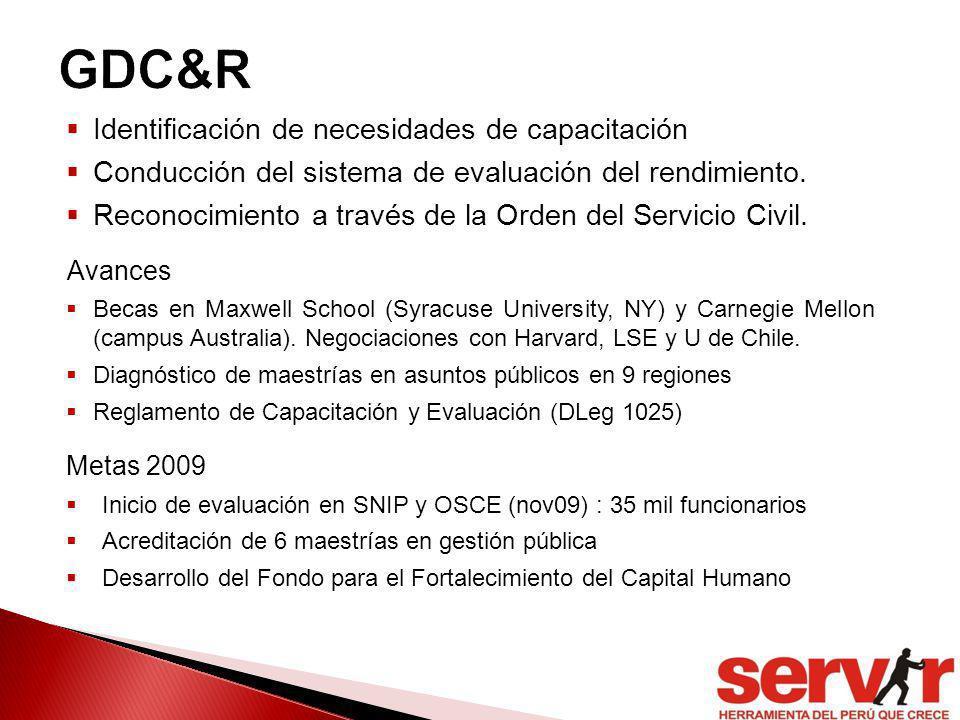 Identificación de necesidades de capacitación Conducción del sistema de evaluación del rendimiento. Reconocimiento a través de la Orden del Servicio C