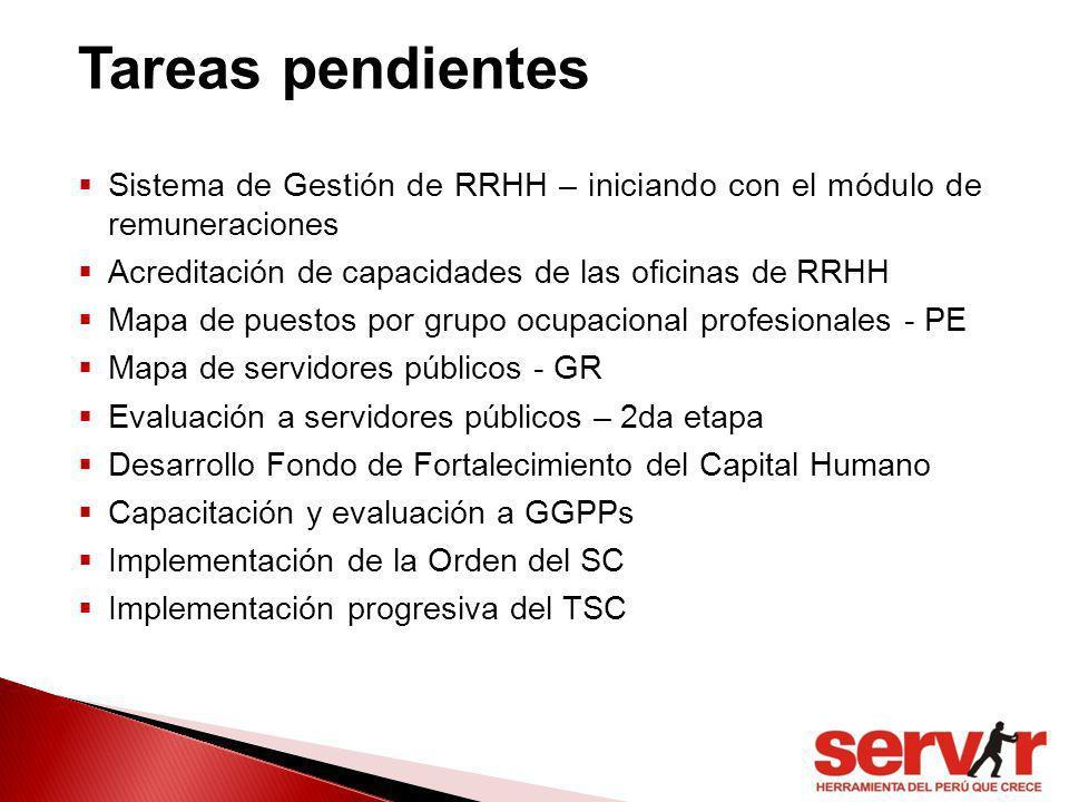 Sistema de Gestión de RRHH – iniciando con el módulo de remuneraciones Acreditación de capacidades de las oficinas de RRHH Mapa de puestos por grupo o