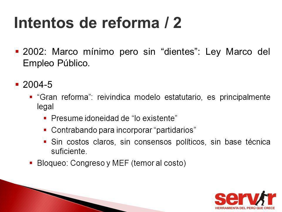 Intentos de reforma / 2 2002: Marco mínimo pero sin dientes: Ley Marco del Empleo Público. 2004-5 Gran reforma: reivindica modelo estatutario, es prin