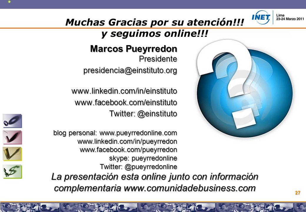 Copyright © 2008 Marcos Pueyrredon Copyright © 2008 Marcos Pueyrredon 27 Muchas Gracias por su atención!!.