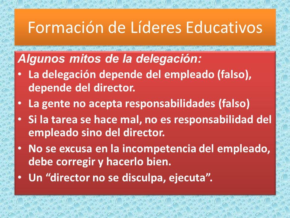 Algunos mitos de la delegación: La delegación depende del empleado (falso), depende del director.