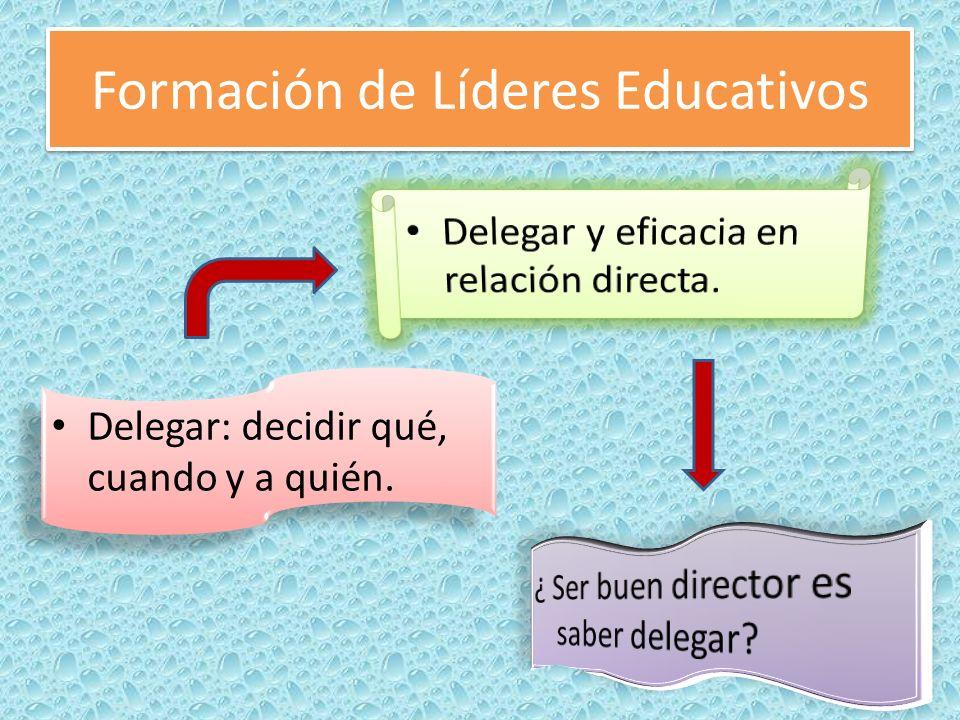 Formación de Líderes Educativos El delegado tiene que traer soluciones al problema.