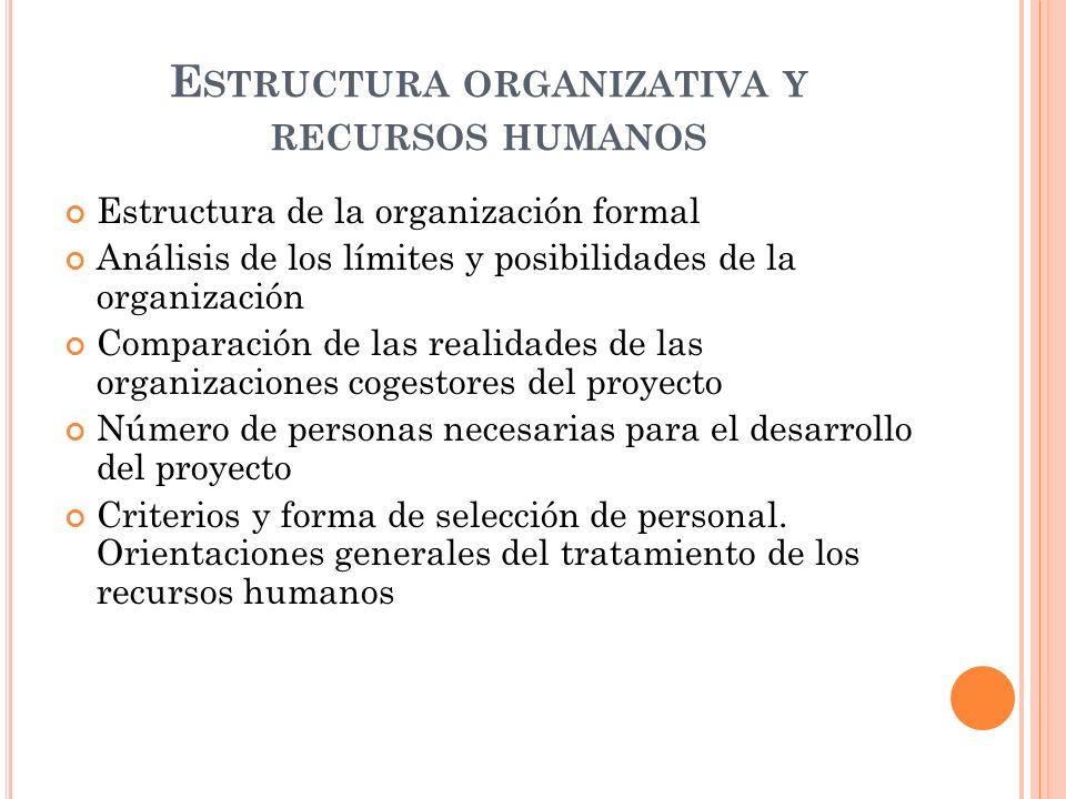 E STRUCTURA ORGANIZATIVA Y RECURSOS HUMANOS Estructura de la organización formal Análisis de los límites y posibilidades de la organización Comparación de las realidades de las organizaciones cogestores del proyecto Número de personas necesarias para el desarrollo del proyecto Criterios y forma de selección de personal.