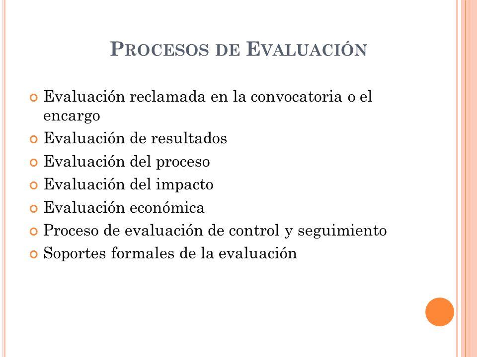 P ROCESOS DE E VALUACIÓN Evaluación reclamada en la convocatoria o el encargo Evaluación de resultados Evaluación del proceso Evaluación del impacto Evaluación económica Proceso de evaluación de control y seguimiento Soportes formales de la evaluación
