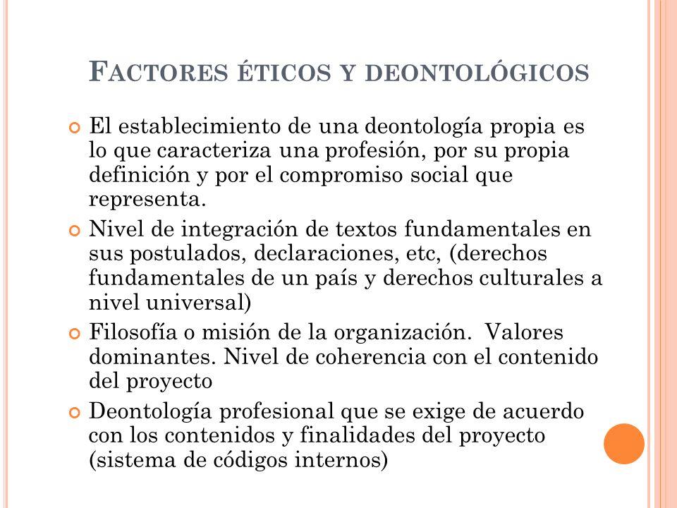 F ACTORES ÉTICOS Y DEONTOLÓGICOS El establecimiento de una deontología propia es lo que caracteriza una profesión, por su propia definición y por el compromiso social que representa.