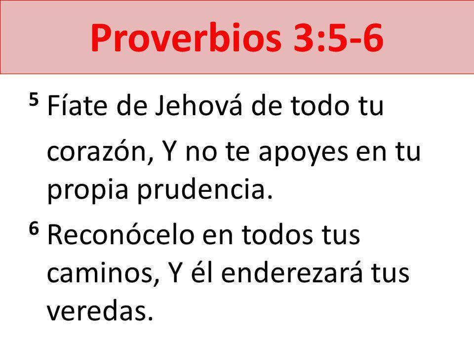 Proverbios 3:5-6 5 Fíate de Jehová de todo tu corazón, Y no te apoyes en tu propia prudencia. 6 Reconócelo en todos tus caminos, Y él enderezará tus v