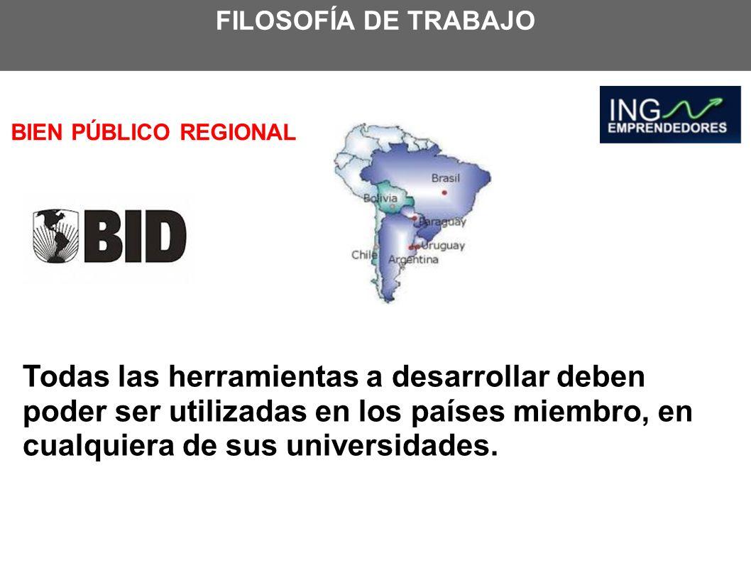 BIEN PÚBLICO REGIONAL Todas las herramientas a desarrollar deben poder ser utilizadas en los países miembro, en cualquiera de sus universidades.