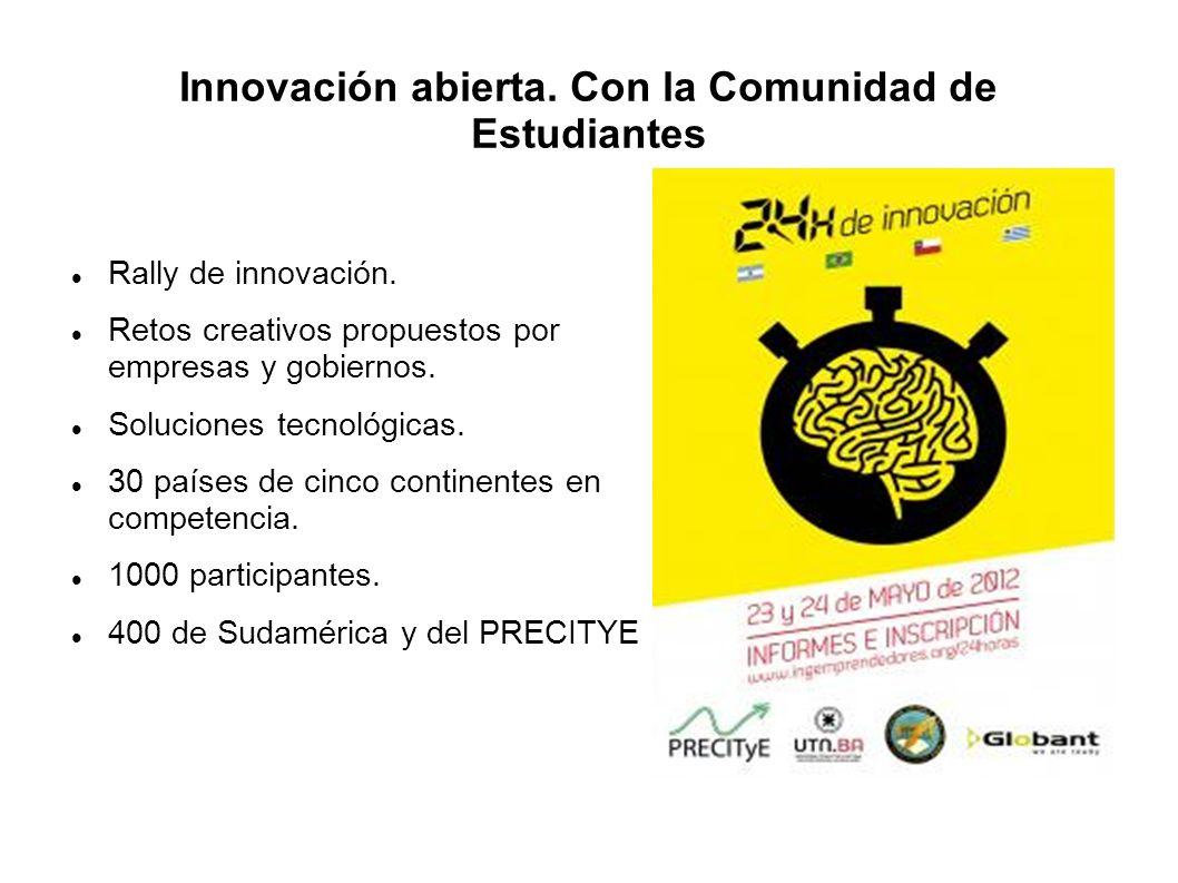 Innovación abierta. Con la Comunidad de Estudiantes Rally de innovación. Retos creativos propuestos por empresas y gobiernos. Soluciones tecnológicas.