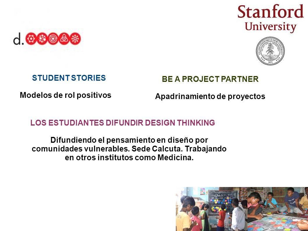 STUDENT STORIES Modelos de rol positivos BE A PROJECT PARTNER Apadrinamiento de proyectos LOS ESTUDIANTES DIFUNDIR DESIGN THINKING Difundiendo el pens