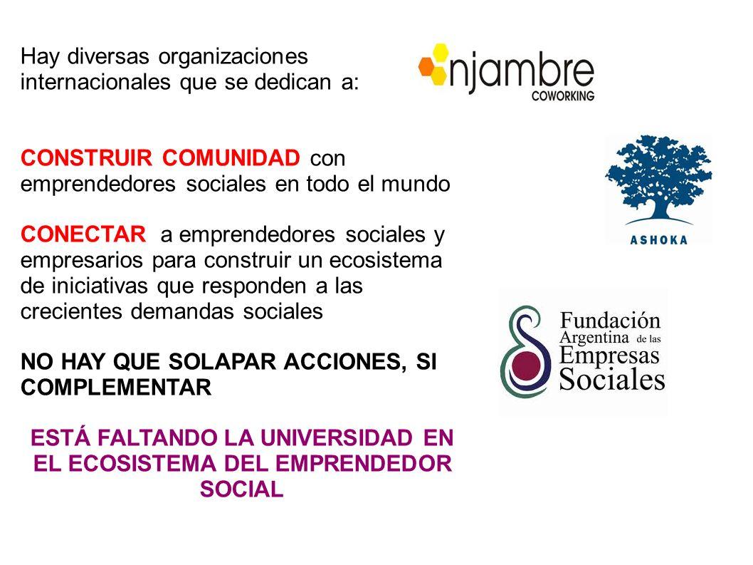 Hay diversas organizaciones internacionales que se dedican a: CONSTRUIR COMUNIDAD con emprendedores sociales en todo el mundo CONECTAR a emprendedores