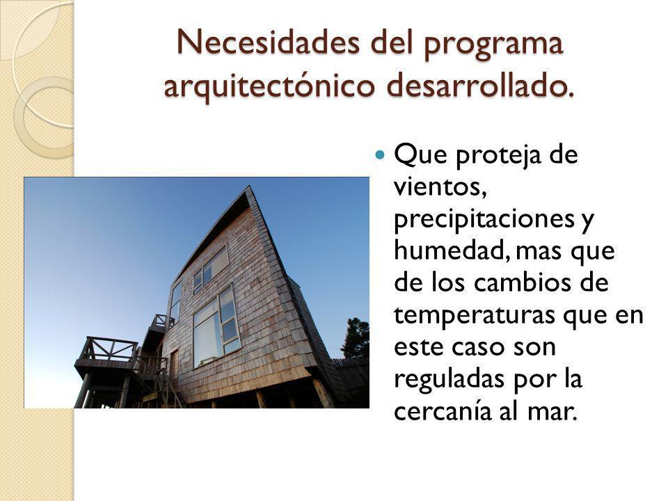 Necesidades del programa arquitectónico desarrollado. Que proteja de vientos, precipitaciones y humedad, mas que de los cambios de temperaturas que en
