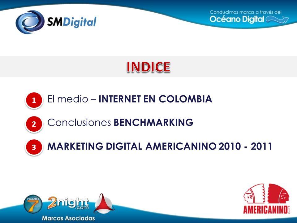 El medio – INTERNET EN COLOMBIA Conclusiones BENCHMARKING MARKETING DIGITAL AMERICANINO 2010 - 2011 3 3 1 1 2 2