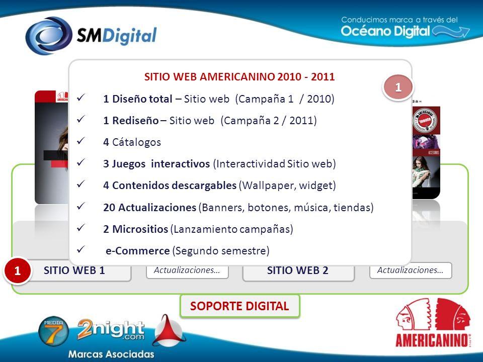Actualizaciones… SITIO WEB 2 Actualizaciones… SITIO WEB 1 1 1 SITIO WEB AMERICANINO 2010 - 2011 1 Diseño total – Sitio web (Campaña 1 / 2010) 1 Redise