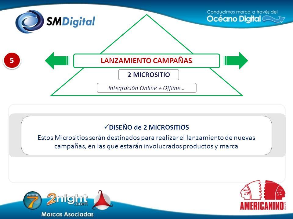 5 5 DISEÑO de 2 MICROSITIOS Estos Micrositios serán destinados para realizar el lanzamiento de nuevas campañas, en las que estarán involucrados produc