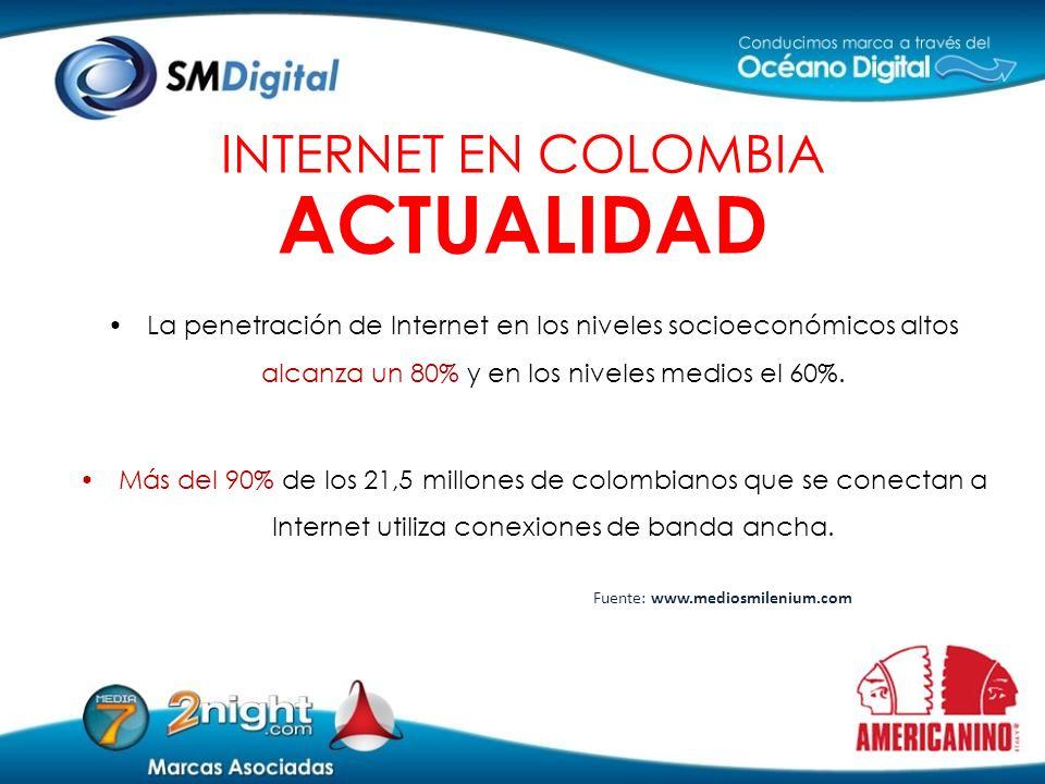 La penetración de Internet en los niveles socioeconómicos altos alcanza un 80% y en los niveles medios el 60%. Más del 90% de los 21,5 millones de col