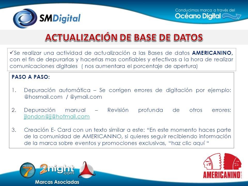 Se realizar una actividad de actualización a las Bases de datos AMERICANINO, con el fin de depurarlas y hacerlas mas confiables y efectivas a la hora