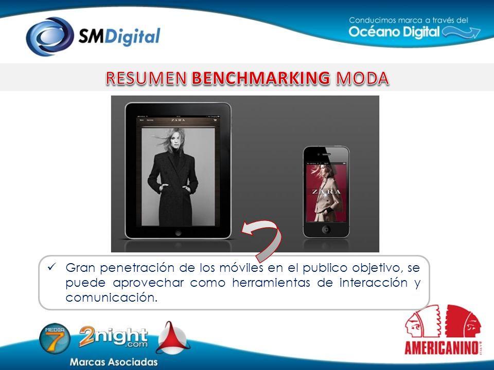 Gran penetración de los móviles en el publico objetivo, se puede aprovechar como herramientas de interacción y comunicación.