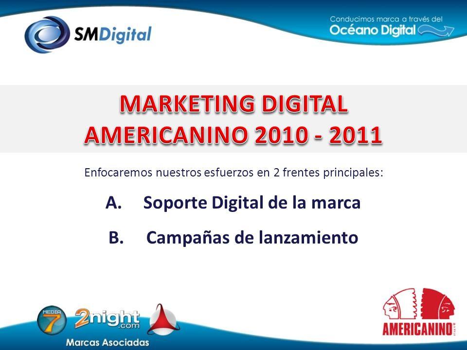 Enfocaremos nuestros esfuerzos en 2 frentes principales: A.Soporte Digital de la marca B.Campañas de lanzamiento