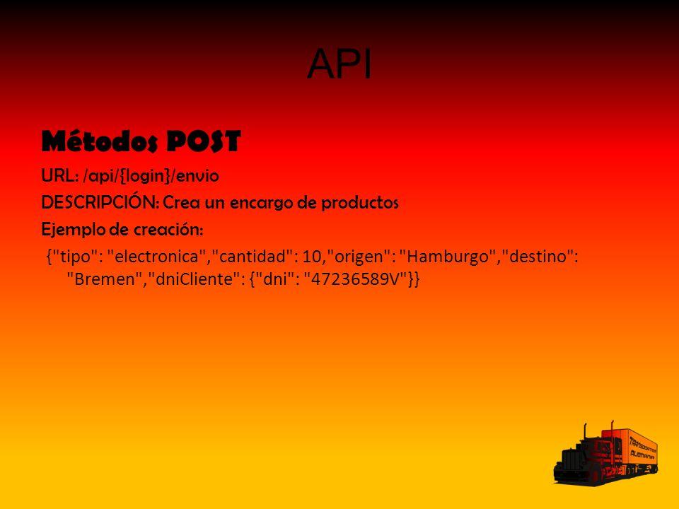 API Métodos POST URL: /api/{login}/envio DESCRIPCIÓN: Crea un encargo de productos Ejemplo de creación: { tipo : electronica , cantidad : 10, origen : Hamburgo , destino : Bremen , dniCliente : { dni : 47236589V }}