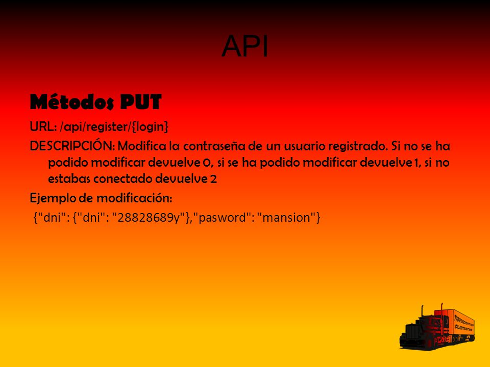 API Métodos PUT URL: /api/register/{login} DESCRIPCIÓN: Modifica la contraseña de un usuario registrado.